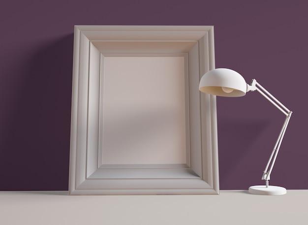 3d 일러스트 레이 션. 책상 램프 옆 선반에 사진 프레임입니다. 프리미엄 사진