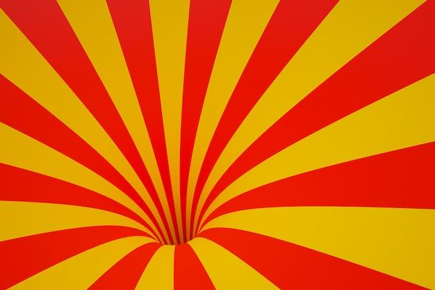 Воронка иллюстрации 3d красно-желтая. полосатый цветной абстрактный фон. Premium Фотографии
