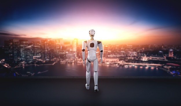3d иллюстрации робот-гуманоид с нетерпением ждет на фоне городского пейзажа Premium Фотографии
