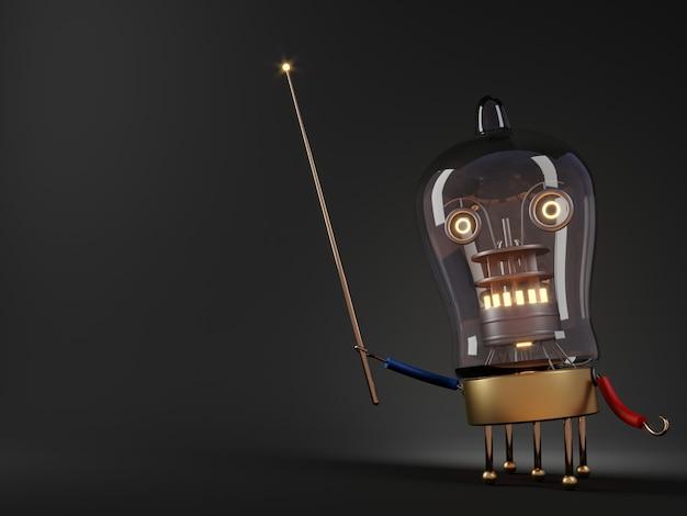3dイラスト。ロボット教師チューブプロセッサの概念はユーモアをレンダリングします Premium写真