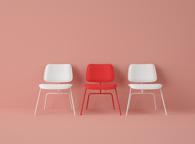 3d illustration. row of chairs with one with different colour. Premium Photo