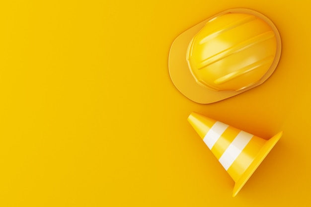 3d illustration. safety helmet and traffic cone on orange background. Premium Photo