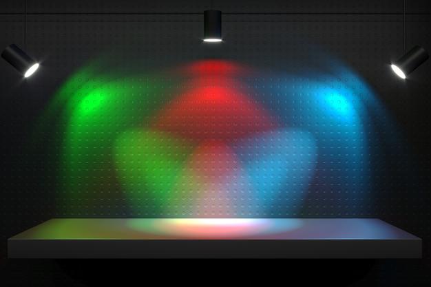 3dイラスト。ランプ付き棚青緑赤。 ledと光のスペクトル Premium写真