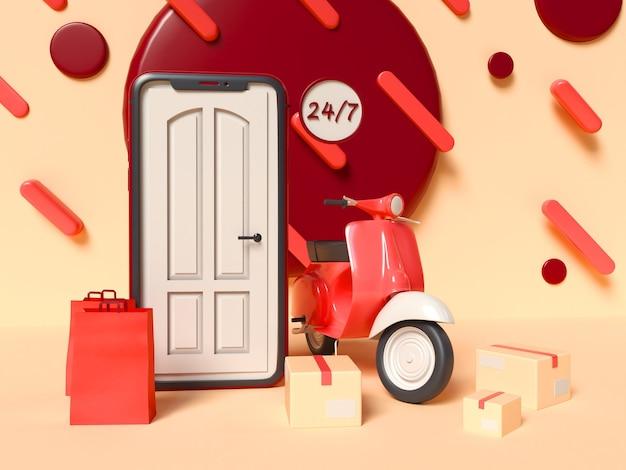 3d 그림. 화면에 문이 있고 배달 스쿠터, 상자 및 종이 봉지가있는 스마트 폰. 24/7 온라인 쇼핑 및 배달 서비스 개념. 무료 사진