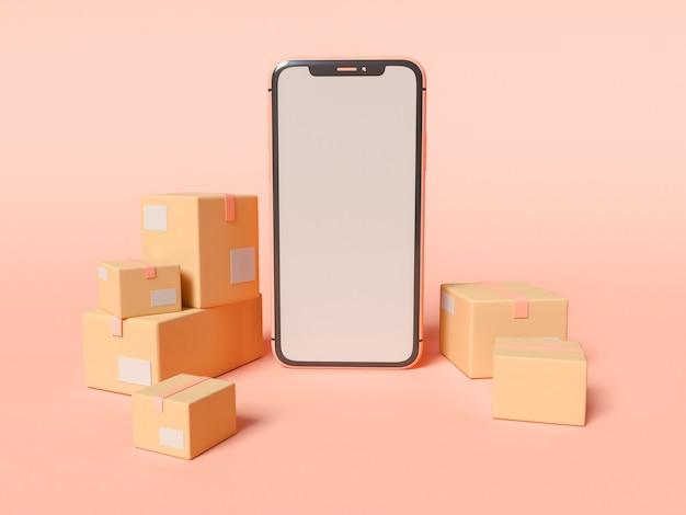 3dイラスト。空白の白い画面と段ボール箱付きのスマートフォン。 eコマースと配送サービスのコンセプト。 無料写真