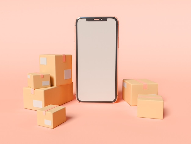 3d illustration. smartphone with blank white screen and cardboard boxes. e-commerce and shipping service concept. Free Photo