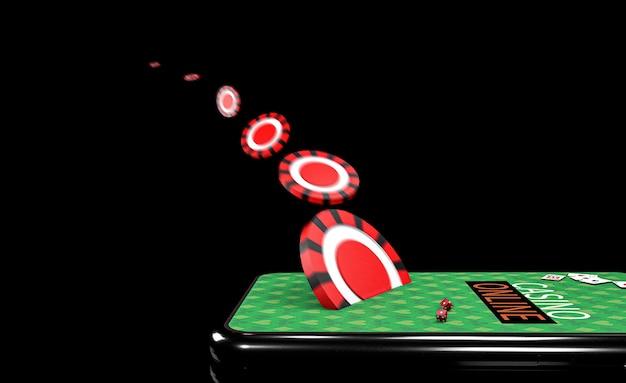 3dイラスト。チップ付きスマートフォン。オンラインカジノのコンセプト。孤立した黒い背景。 Premium写真
