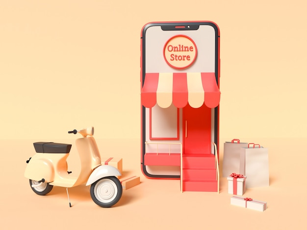 3d illustration of smartphone with a delivery scooter, boxes and paper bags Free Photo