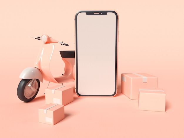 3d illustration of smartphone with a delivery scooter and boxes Free Photo