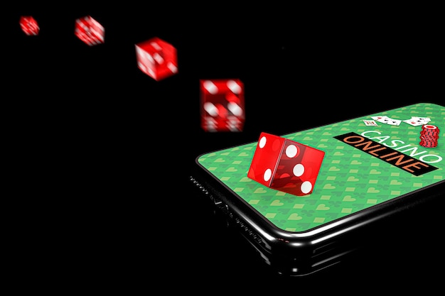 3d illustration. smartphone with dices. online casino concept. isolated black background. Premium Photo