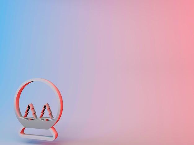 3d illustrazione di un globo di neve con alberi di natale in esso su uno sfondo sfumato Foto Gratuite