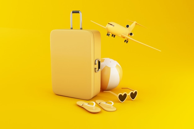 3d illustration. travel suitcase, beach ball, flip flops and sunglasses, on yellow background. Premium Photo