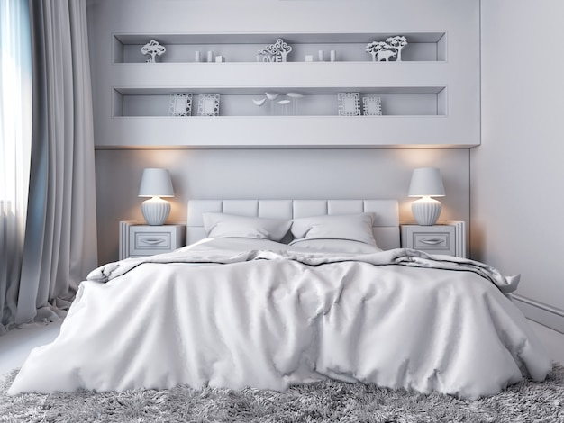 3d illustration of a white bedroom in classical style Premium Photo
