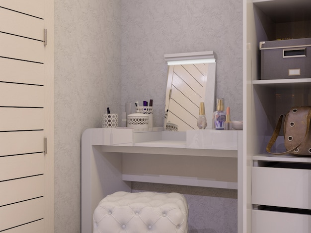 3d illustration of a white bedroom in modern style Premium Photo