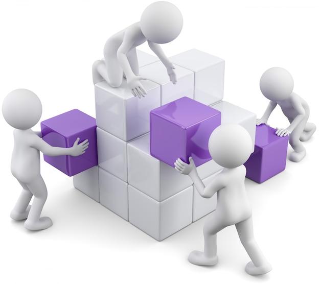 3d illustration of white male cubes composition Premium Photo