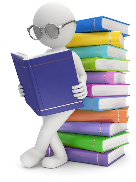 3d illustration of white male reading books Premium Photo