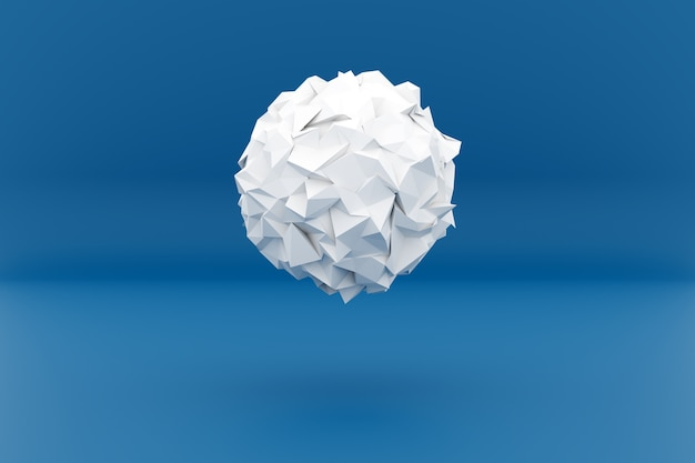 3d illustration of a white shape, consisting of a large number of crumpled pape . Premium Photo