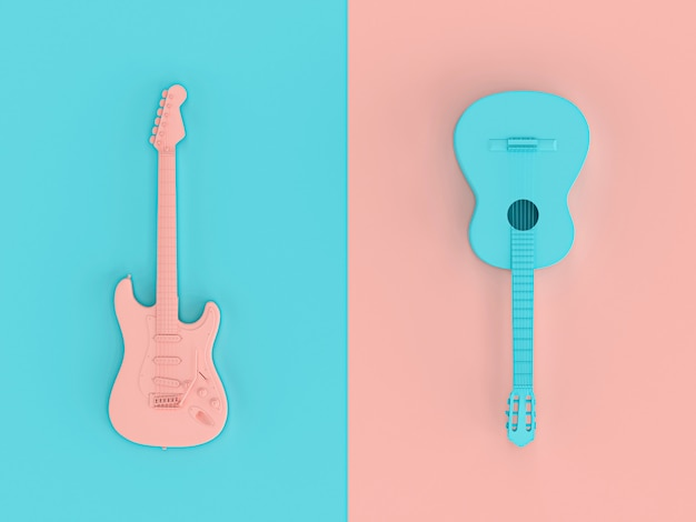 3d image render in style flat lay of two electric guitars Premium Photo