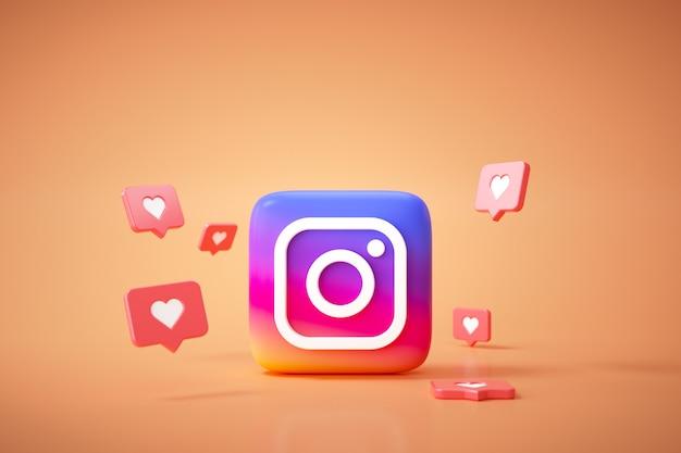 3d фон логотипа приложения instagram. платформа социальных сетей instagram. Premium Фотографии