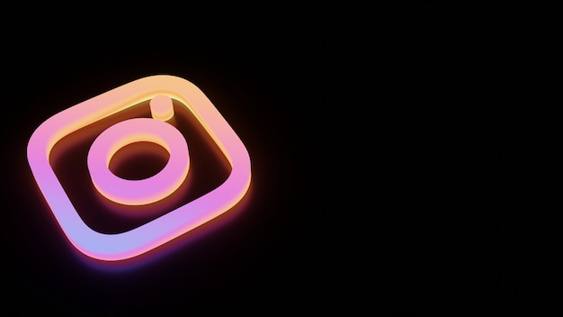 3d instagram logo with neon glow Premium Photo