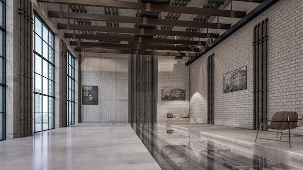 거실 시각화의 3d 인테리어 렌더링 프리미엄 사진