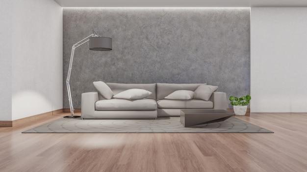 거실의 3d 인테리어 렌더링 프리미엄 사진