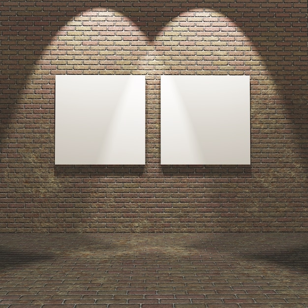 3d interior with blank canvases on a brick wall Free Photo