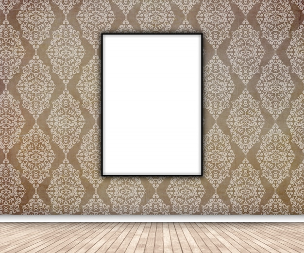 3d interior with blank picture hanging on damask wallpaper Free Photo