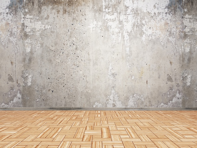 3d Interior With Grunge Wall And Parquet Wood Floor Photo Free