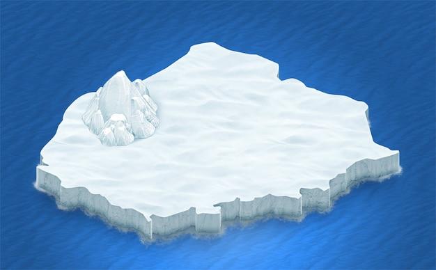Terreno isometrico 3d di ghiaccio su uno sfondo blu oceano Foto Gratuite