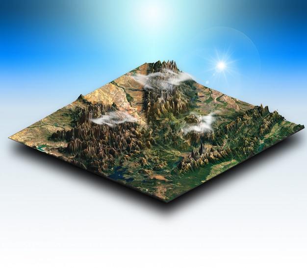 Terreno isometrico 3d di un paesaggio montuoso Foto Gratuite