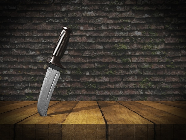 Coltello 3d bloccato in tavola di legno contro il muro di mattoni del grunge Foto Gratuite