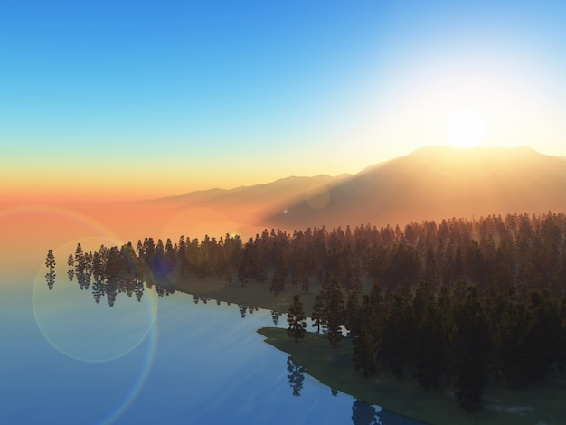 3d landscape of trees against a sunset sky Free Photo