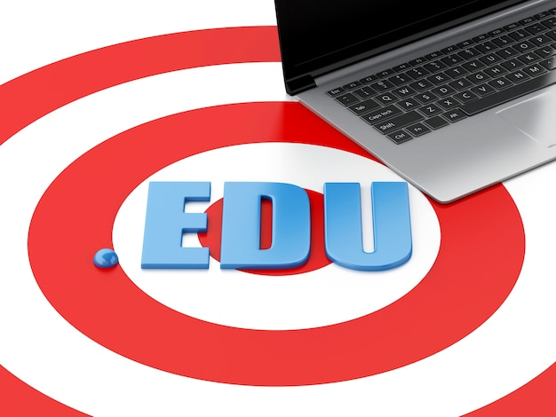 3d laptop pc and word edu on target Premium Photo