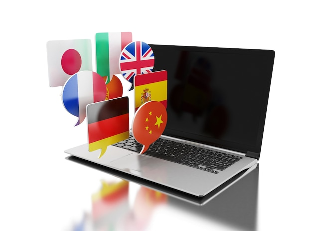3d laptop with bubble speech flags. Premium Photo