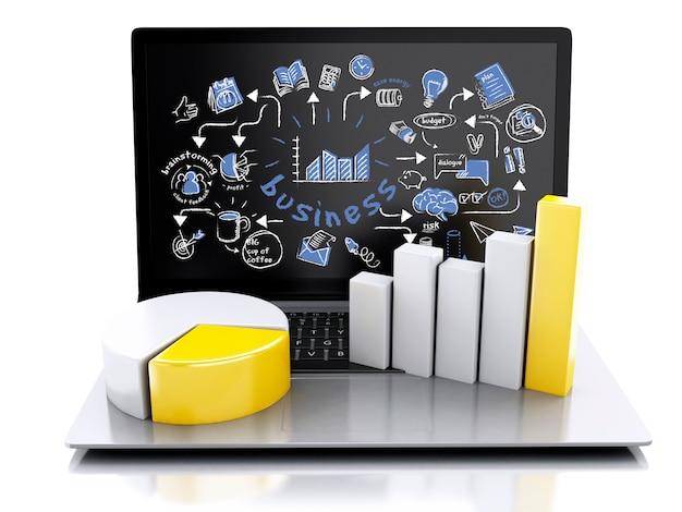 차트 및 그래프와 함께 3d 노트북입니다. 비즈니스 성공 개념입니다. 흰색 배경에 고립 프리미엄 사진