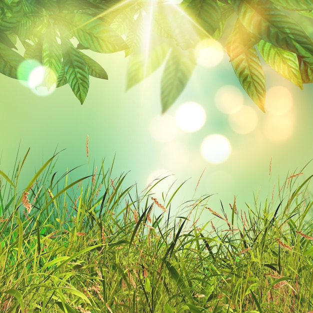 3D leaves and grass background Free Photo