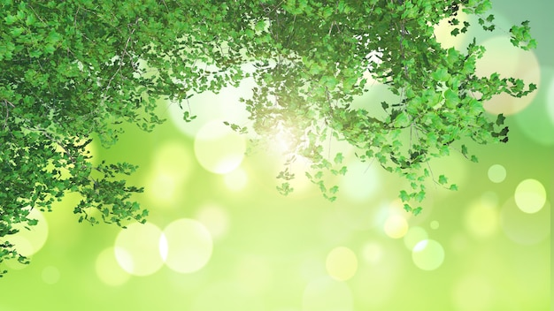3d leaves looking out to a green bokeh light landscape Free Photo