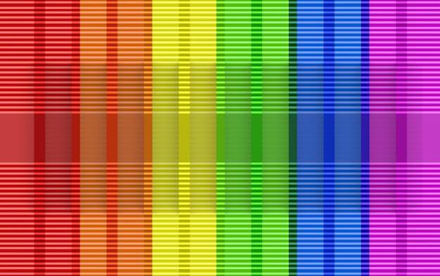 3dレンダリングモダンなlgbt虹色旗壁デザインの背景。 Premium写真
