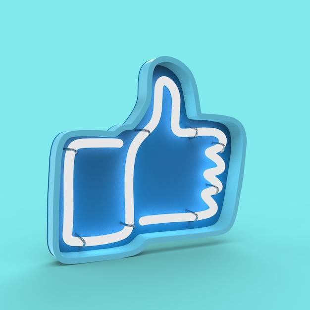 3d иллюстрации неоновая вывеска like, thumb on Premium Фотографии