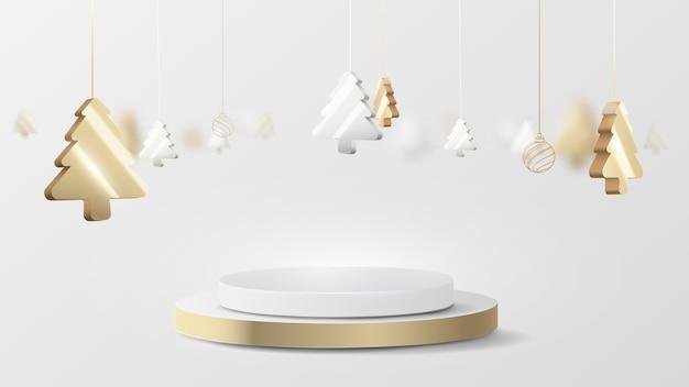クリスマスツリーの吊り下げ要素を備えた3dの豪華なゴールドとシルバーのサークル表彰台ディスプレイ。ベクトルイラスト Premium写真