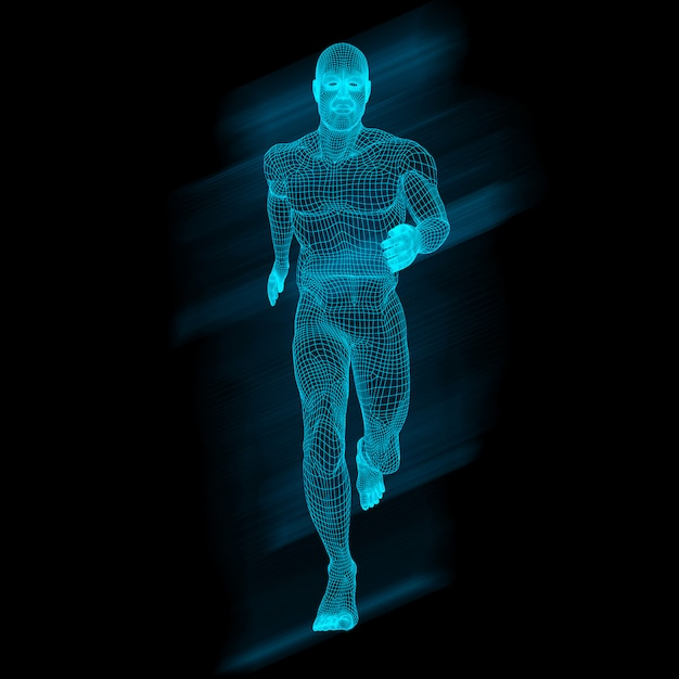 3d male figure in running pose with wireframe design Free Photo