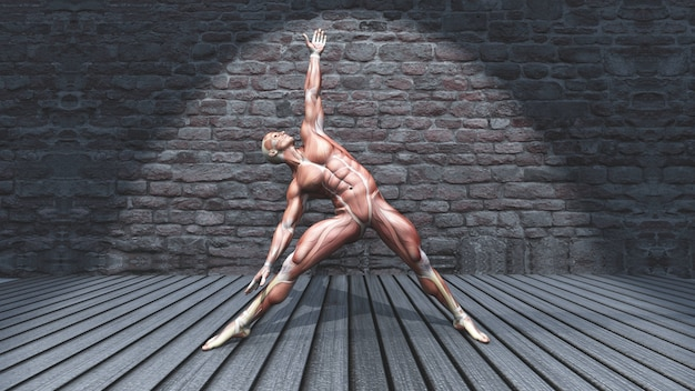 3d male figure in triangle pose in grunge interior Free Photo