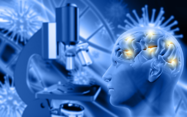 3d male figure with brain on defocussed background with microscope and virus cells Premium Photo