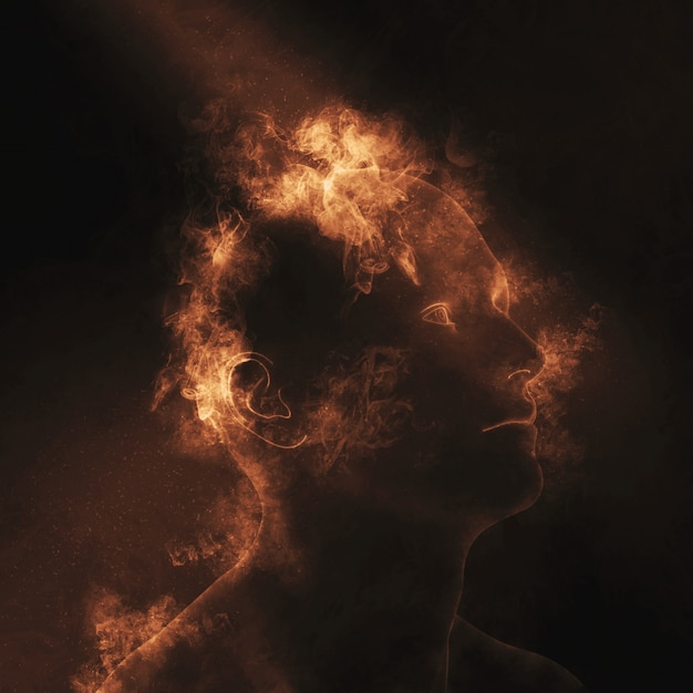 3d male figure with flames on head depicting mental health Free Photo