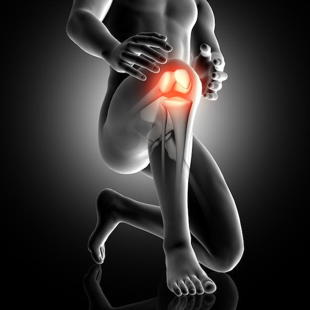 3d male figure with knee highlighted in pain Free Photo