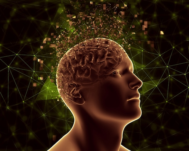 3d male figure with pixelated brain depicting mental health problems Free Photo