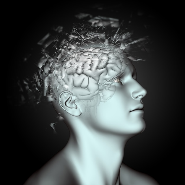 3d male figure with shatter effect on head and brain depicting mental health issues Free Photo
