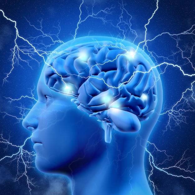 Testa e cervello del maschio 3d con i lampi Foto Gratuite