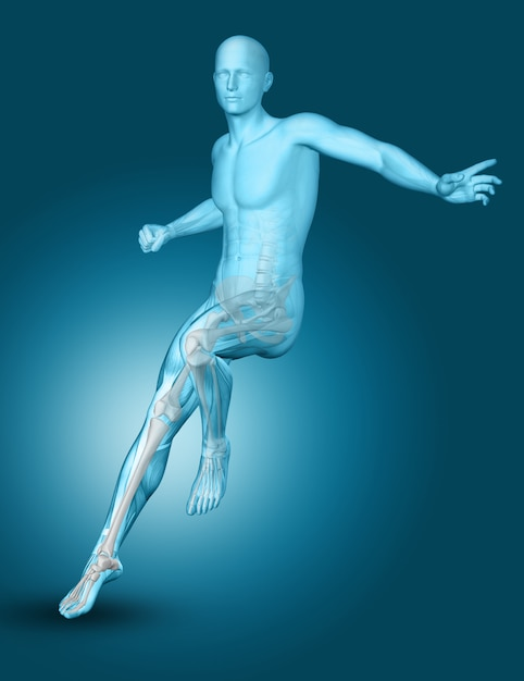 3d male medical figure landing on one foot Free Photo